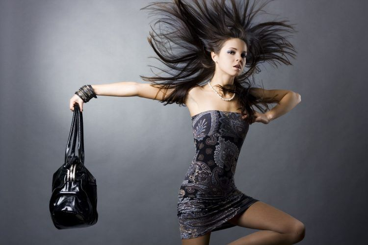 Sexy girl with a bag